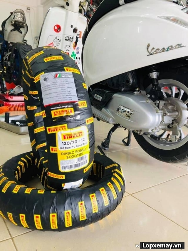 Lốp xe máy pirelli 12070-12 angel rosso scooter cho bánh trước xe vespa sprint vespa primavera msx - 1