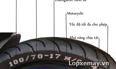 Cách đọc thông số lốp xe máy và chi tiết các kí hiệu trên lốp xe
